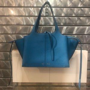 CELINE BLUE GRAINED CALF TRI-FOLD SHOULDER BAG
